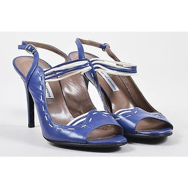 Pre-Owned Tabitha Simmons navy/white Stitched Strappy Leather High... ($105) ❤ liked on Polyvore featuring shoes, sandals, blue, strappy high heel sandals, ankle strap heel sandals, blue sandals, strappy heeled sandals and navy blue shoes