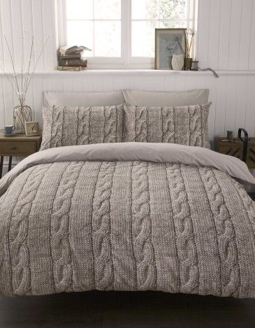 Lovely printed cable knit duvet set, I love the warm cozy look!