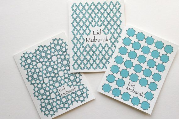 3 Eid  greeting cards with Gorgeous islamic patterns