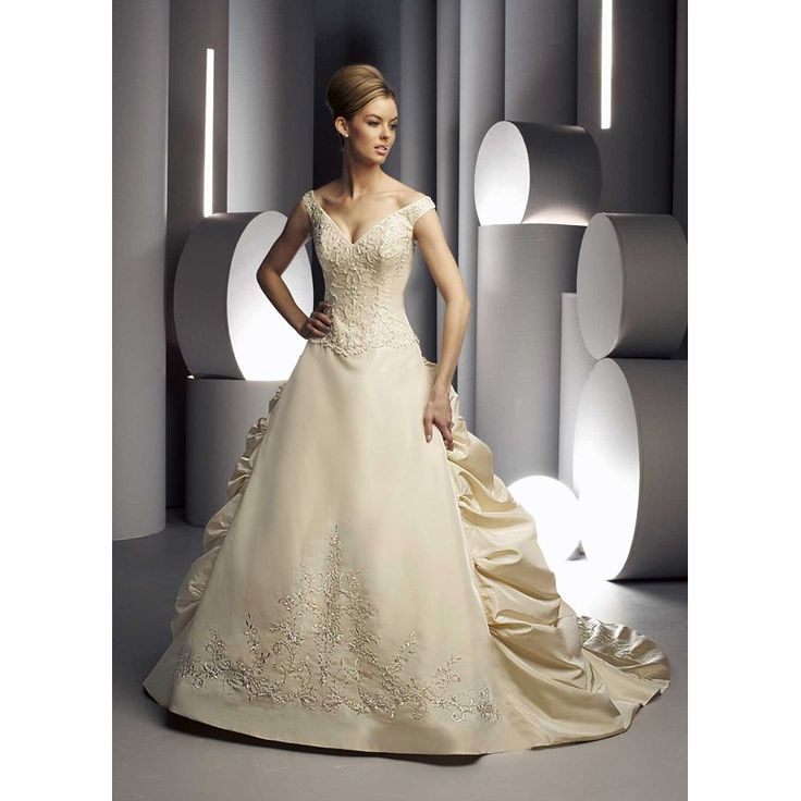 wedding dresses with color | ... Embroidered Champagne ...