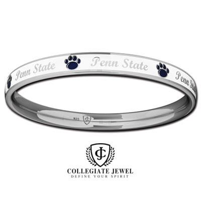 Penn State Bracelets - STERLING SILVER PENN STATE NITTANY LION WHITE ENAMEL PAW PRINT BANGLE BRACELET - Moyer Jewelers