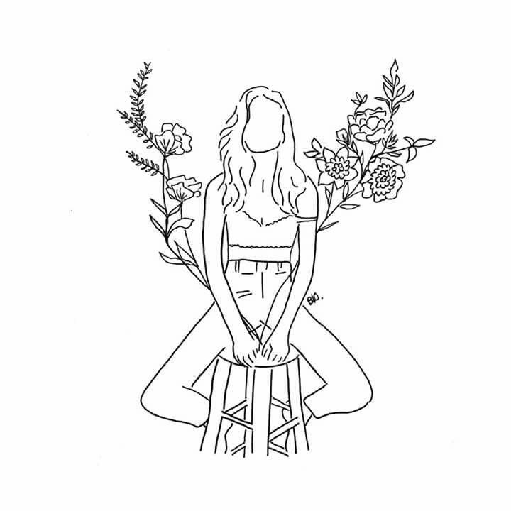 Girl Sitting Line Drawing Line Drawing Flowers Girl Line