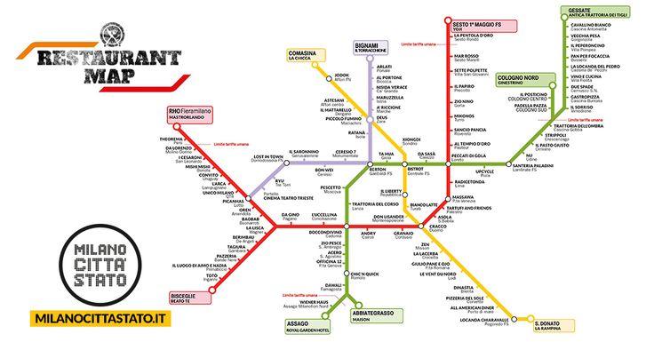 La mappa dei ristoranti di Milano trasformata nella mappa dei ristoranti selezionati, perché buoni e vicini ad ogni fermata. #milanocittastato.