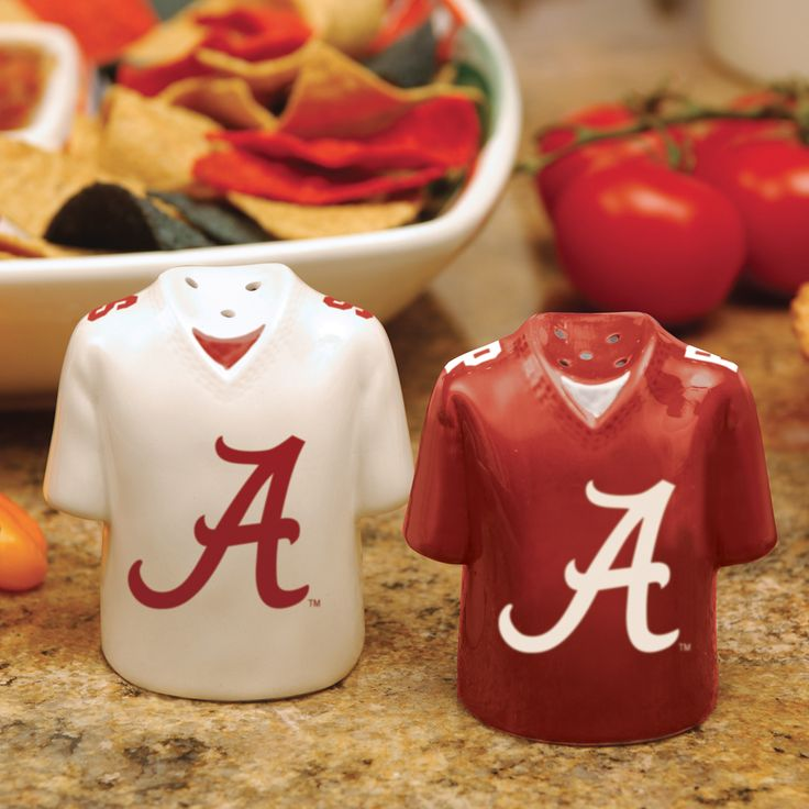 Alabama Football Gift Basket | Alabama Crimson Tide Football Jersey Design Salt & Pepper Shakers