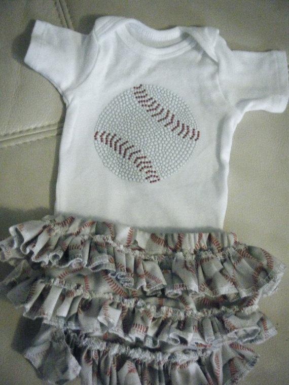 Baby girl baseball onesie/matching ruffled by darlingdivacreations, $27.00