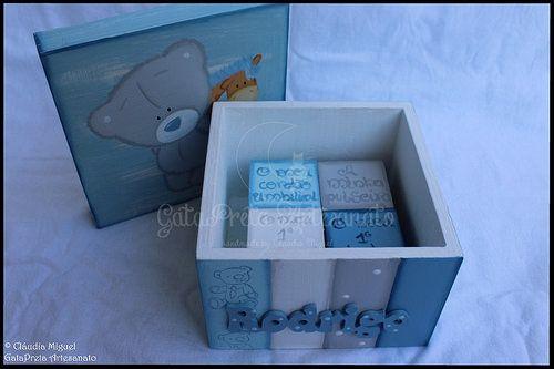 """Caixa de recordações bebé """"Ursinho e Girafa"""""""