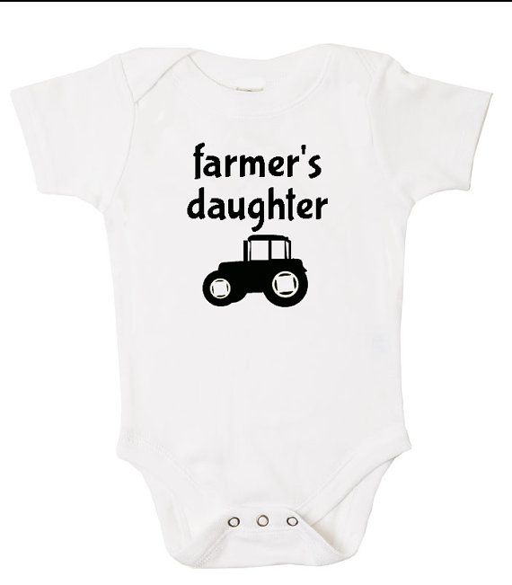 Baby Farmer Onesie: Farmer's Daughter With Tractor - Cotton Onesie for Farmer Baby on Etsy, $14.99