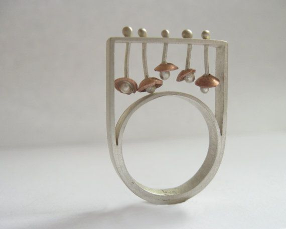 Silver and Copper Ring - Sculptural Ring - Flowers - Interactive Ring