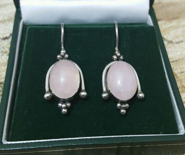 VINTAGE JEWELLERY 925 SOLID SILVER EARRINGS WITH PINK AGATE GEMSTONES in Jewellery & Watches, Fine Jewellery, Fine Earrings | eBay