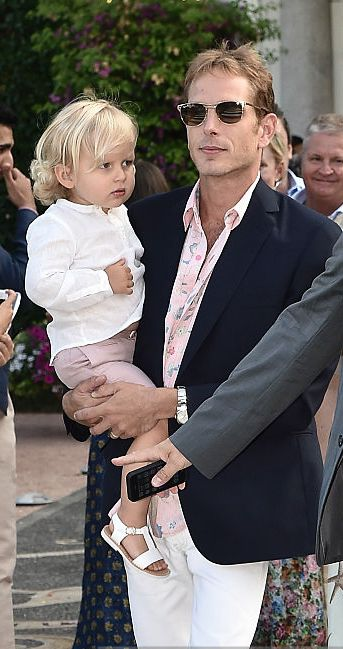 Andrea Casiraghi with son Sacha at the wedding of brother Pierre in Stresa, Italy - July 31, 2015