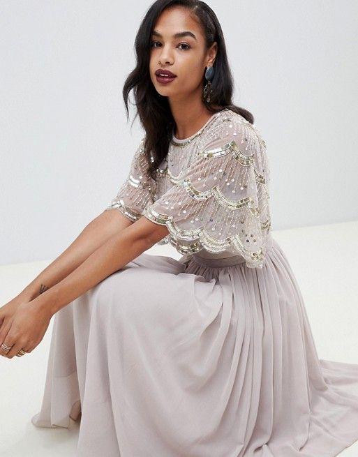 DESIGN scallop hem embellished crop top midi dress in 2019  17ed3c192c5