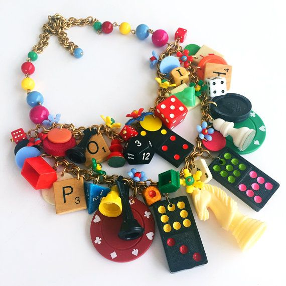 Vintage Game Pieces and Toys Statement Necklace от CurioJewellery