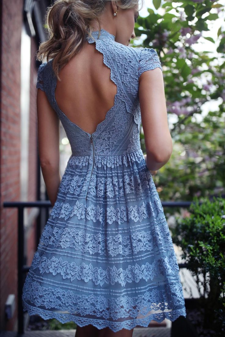 30 Dresses in 30 Days - What to Wear to a Bridal Shower // blue lace fit and flare mock neck open back cut out dress