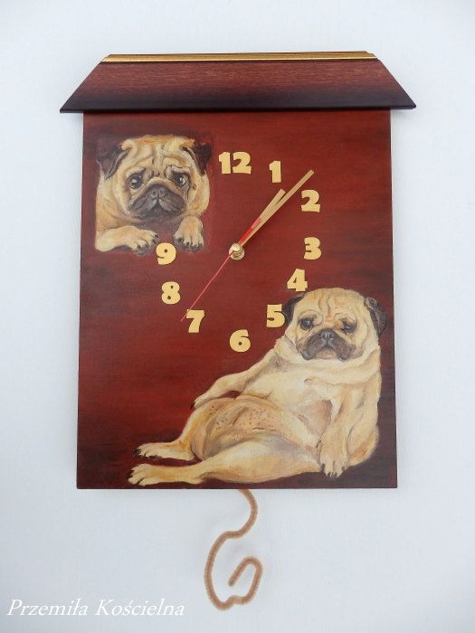 PUG clock dog portrait original oil painting by CanisArtStudio