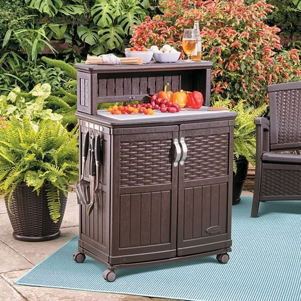 This Multi Functional Prep Station Makes Food Prep And Serving Easy Patio Storage Suncast Patio Outdoor Kitchen