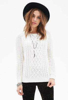 FOREVER 21 Cable-Knit Sweater - Shop for women's Sweater - Cream Sweater