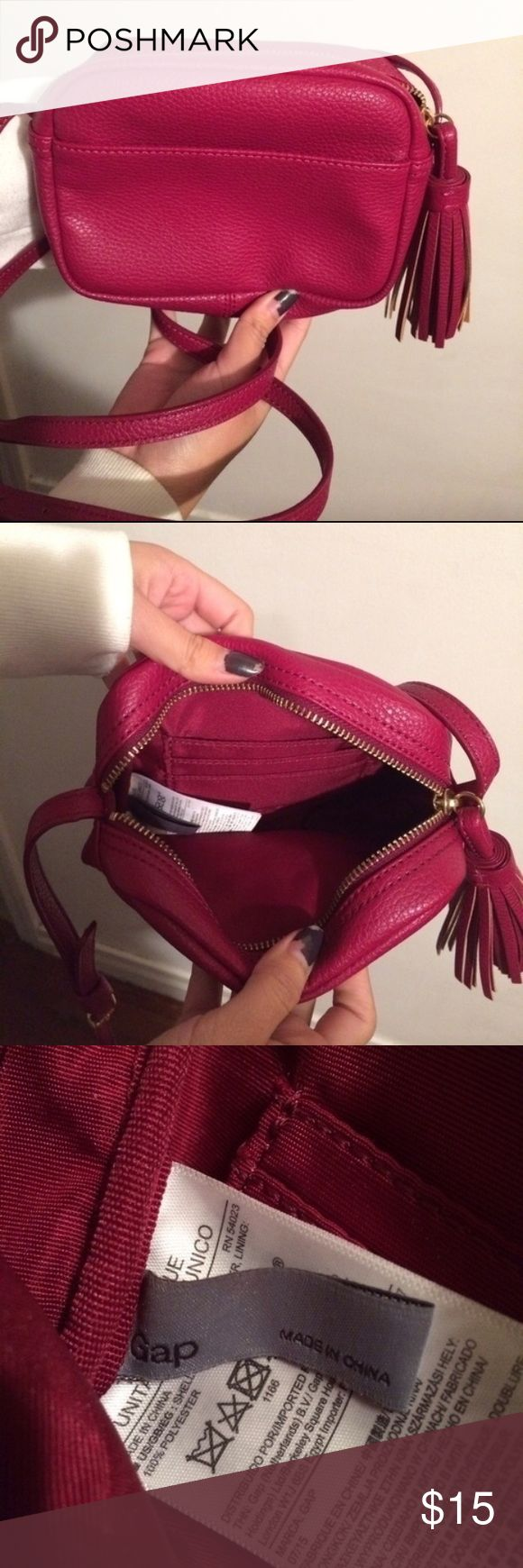 Gap purse Has a tassle Pocket in the insides and the outside  Adjustable straps  Really great condition! No rips  #gap #purses GAP Bags Crossbody Bags