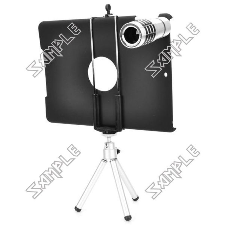 Aluminum Alloy 12X Microscope w/ Tripod / Retractable Bracket / Back Case for IPAD AIR - Black