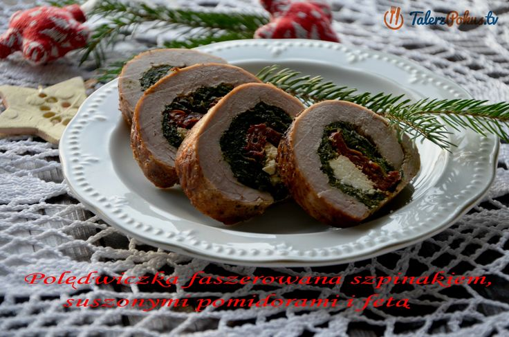 Polędwiczka faszerowana szpinakiem, suszonymi pomidorami i fetą - Talerz...