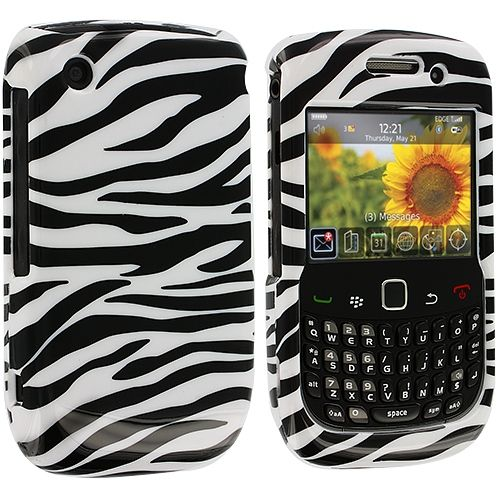 BlackBerry Curve 8520 8530 3G 9300 9330 Black / White Zebra Design Crystal Hard Case Cover