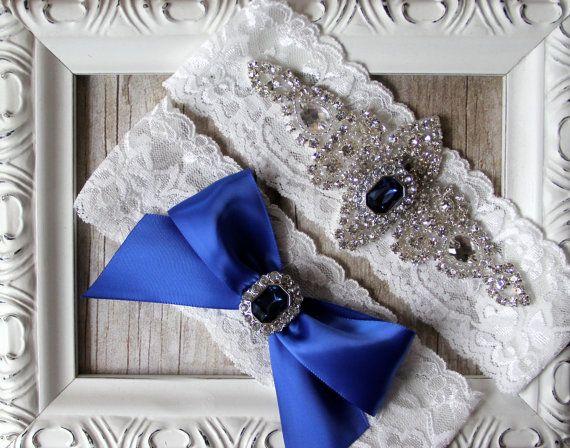 BRIDAL GARTER - Vintage Wedding Garter Set with Sapphires and Rhinestones on Comfortable Lace, Bridal Garter Set, Crystal Garter Set