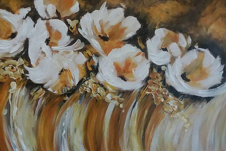 Absztrakt virágok, akril festmény, 40x55 cm