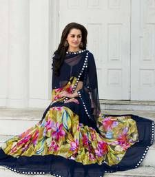 Buy Neavy blue digital printed georgette saree with Paper mirror work bollywood-saree online
