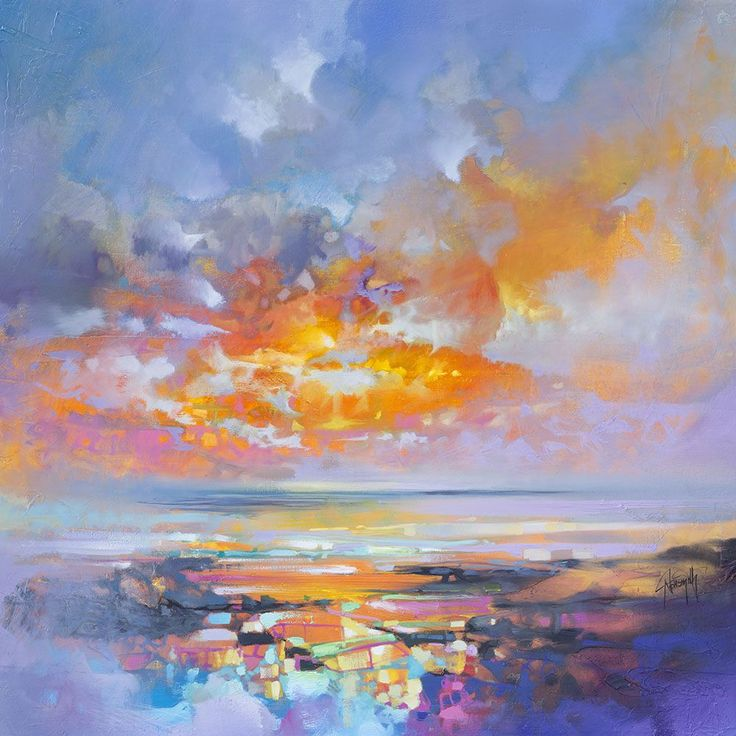 Working with thick brushes and palette knives, artist Scott Naismith carefully reveals the interplay of light and clouds over his native Scotland. The Glasgow-based painter travels the country extensively, drawing inspiration from the glens, lochs, and islands of the West coast in particular. Many o