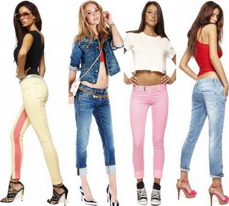 Узкие женские низкие джинсы