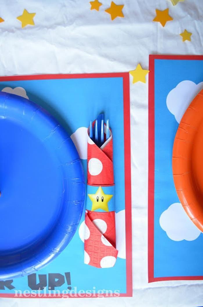Super Mario Brothers Birthday cutlery set up
