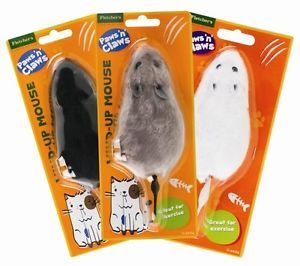 a nuevo gato gatito jugar wind up raton ratones rata de relojeria broma divertido juguete peludo