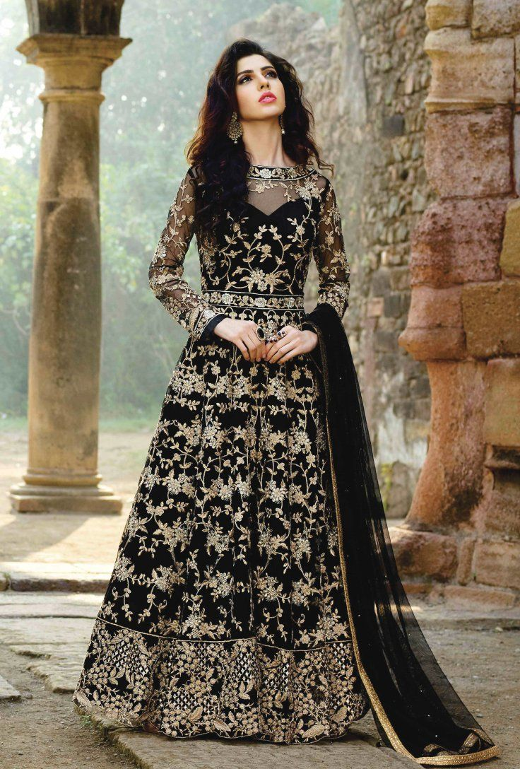 d830535487 Featuring black designer embroidered party wear suit with lace work on the  borders of dupatta. TOP  Net