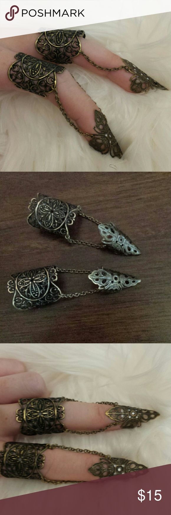 Pair of Elven Finger rings Antique brass filigree with connecting chains between each section.  Fits most fingers and can bend to mold finger snuggly. Jewelry Rings