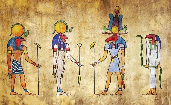 Wall painting of ancient Egyptian gods and goddesses.