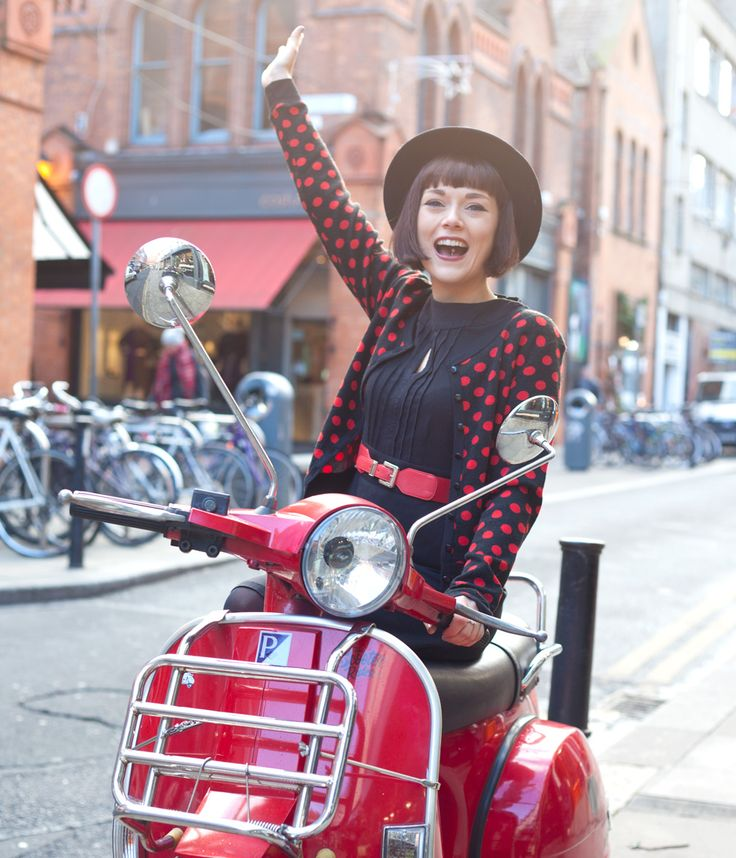 Thoroughly Mod-ern Milly! #polka #dot #scooter #mod #1960s #dublin #street
