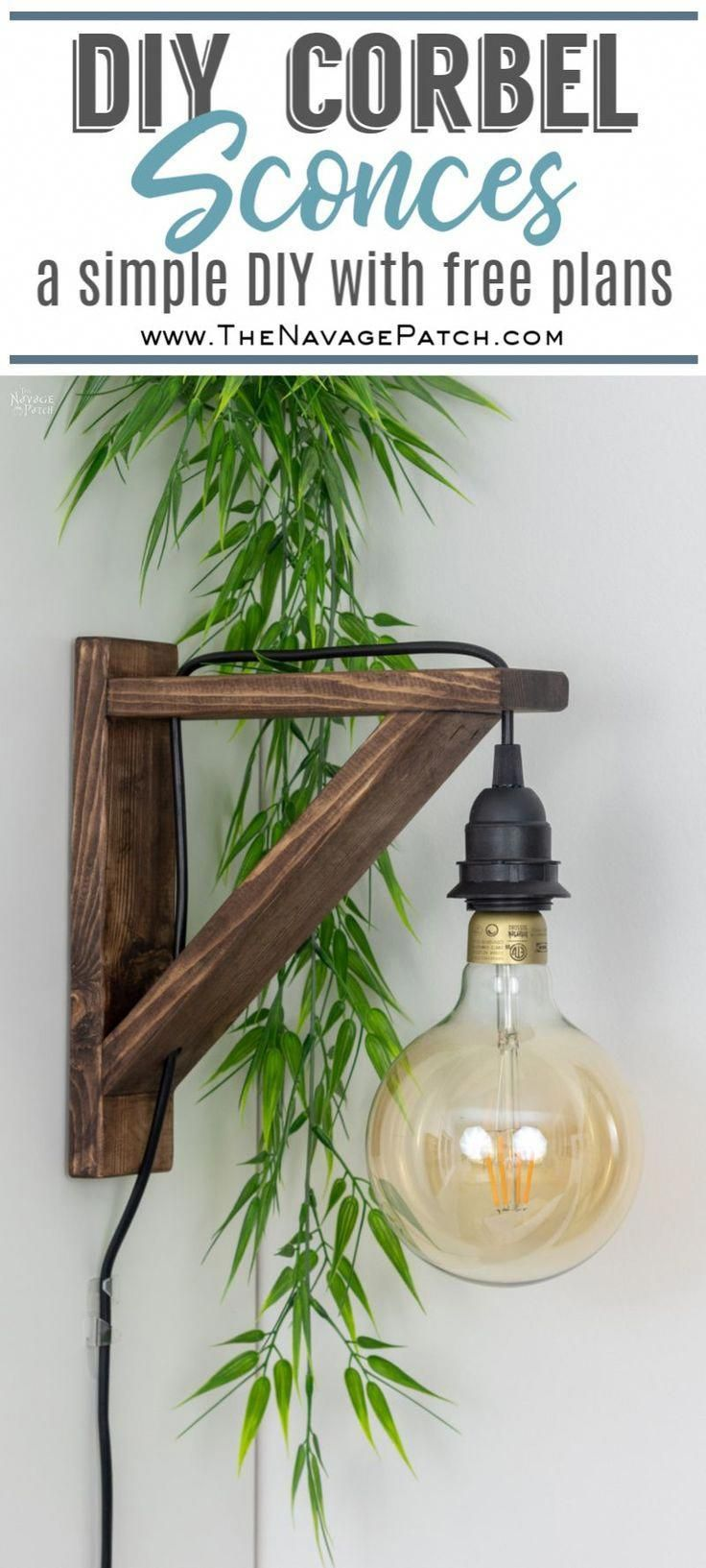 Diy Corbel Sconces With Free Plans How To Make Corbel Wall Sconce For Under 25 Diy Bedroom Light Bedroom Lighting Diy Diy Sconces Farmhouse Style Lighting