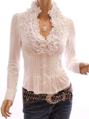 Amazon.com: Patty Women Ruffle Flounce Stand Collar Pleated Waist Blouse Top: Clothing
