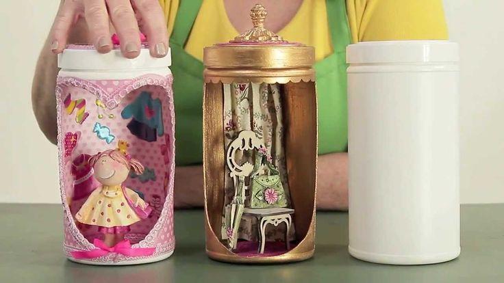Ambientes em potes plásticos - Reciclar com Arte