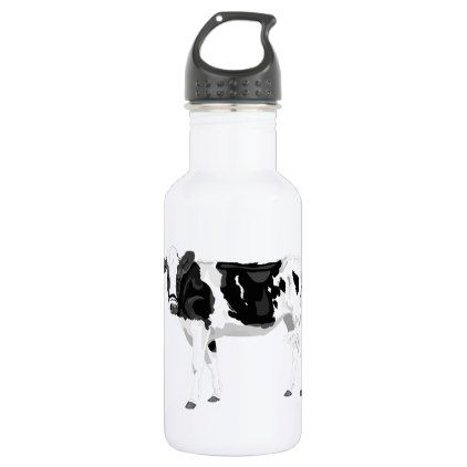 #modern - #Water bottle with black and white cow graphic desi