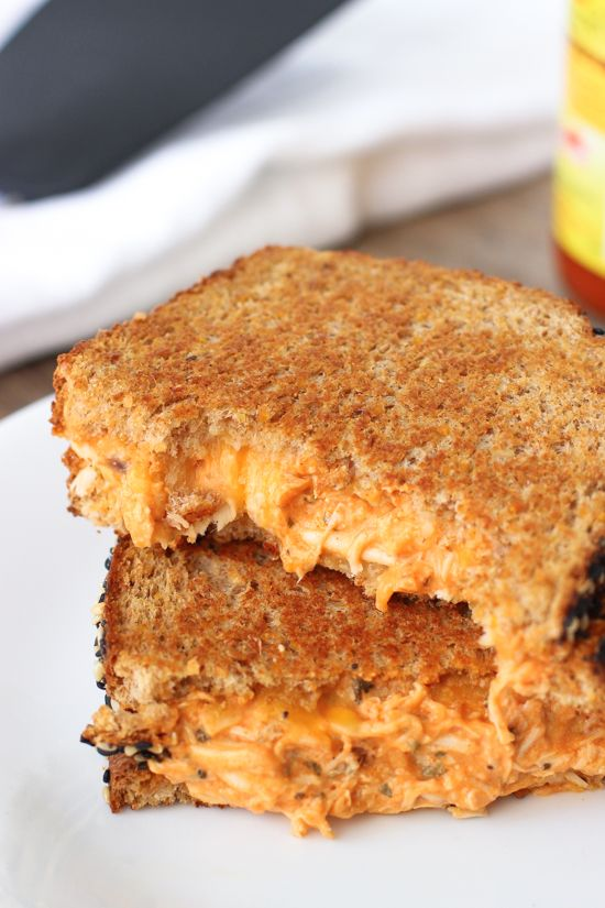Buffalo Chicken Grilled Cheese - creamy, spicy, and satisfying! A great way to use leftover chicken. mysequinedlife.com