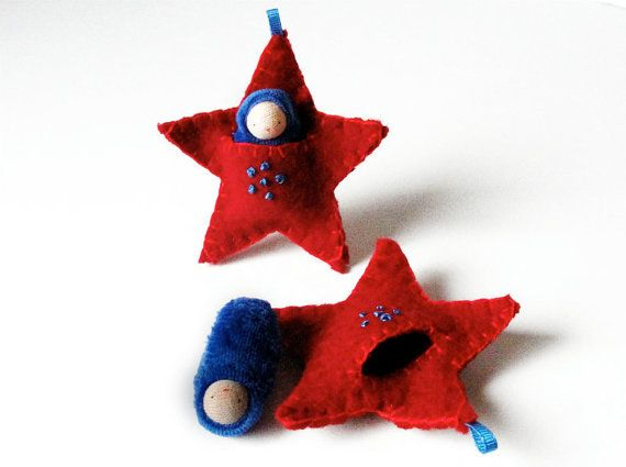 Star ornament pocket doll hand embroidered waldorf decor advent calendar Christmas