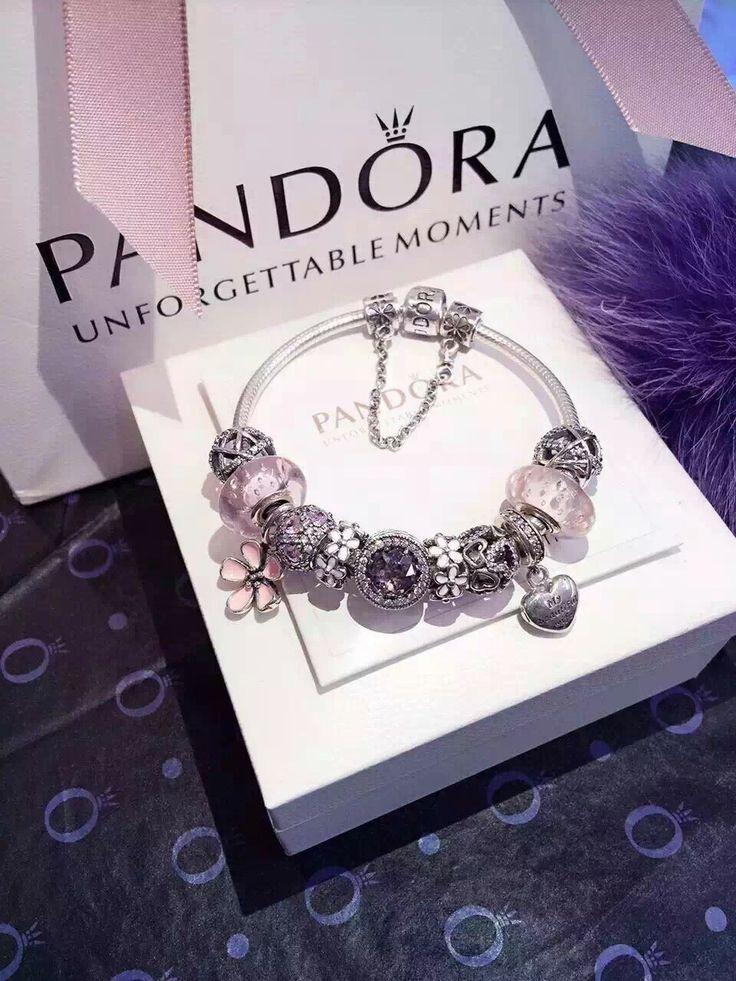 50% OFF!!! $299 Pandora Charm Bracelet Pink White. Hot Sale!!! SKU: CB01982 - PANDORA Bracelet Ideas