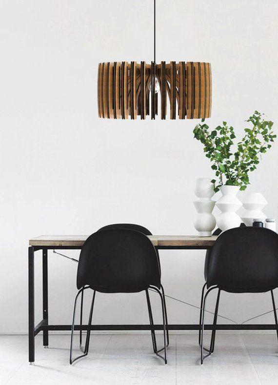 Wood Pendant Light Modern Chandelier Lighting Hanging