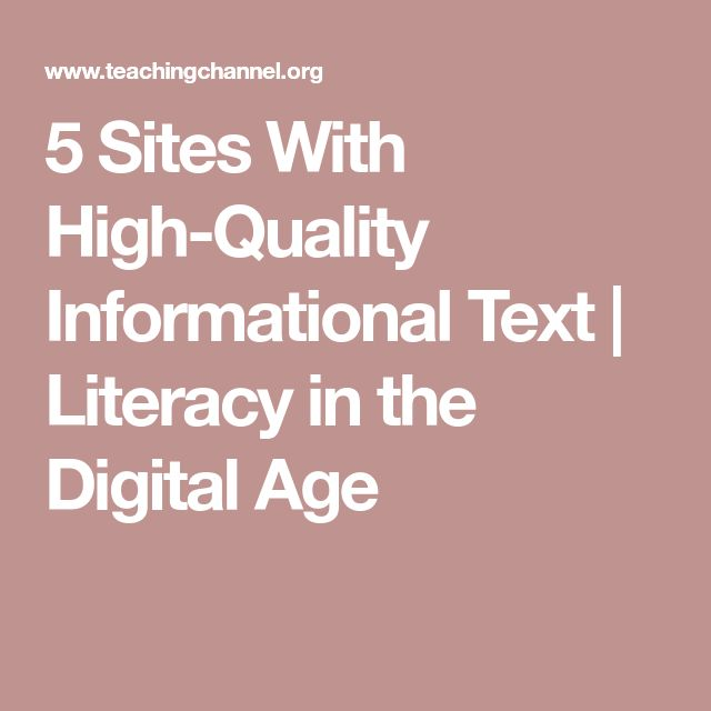 5 Sites With High-Quality Informational Text | Literacy in the Digital Age