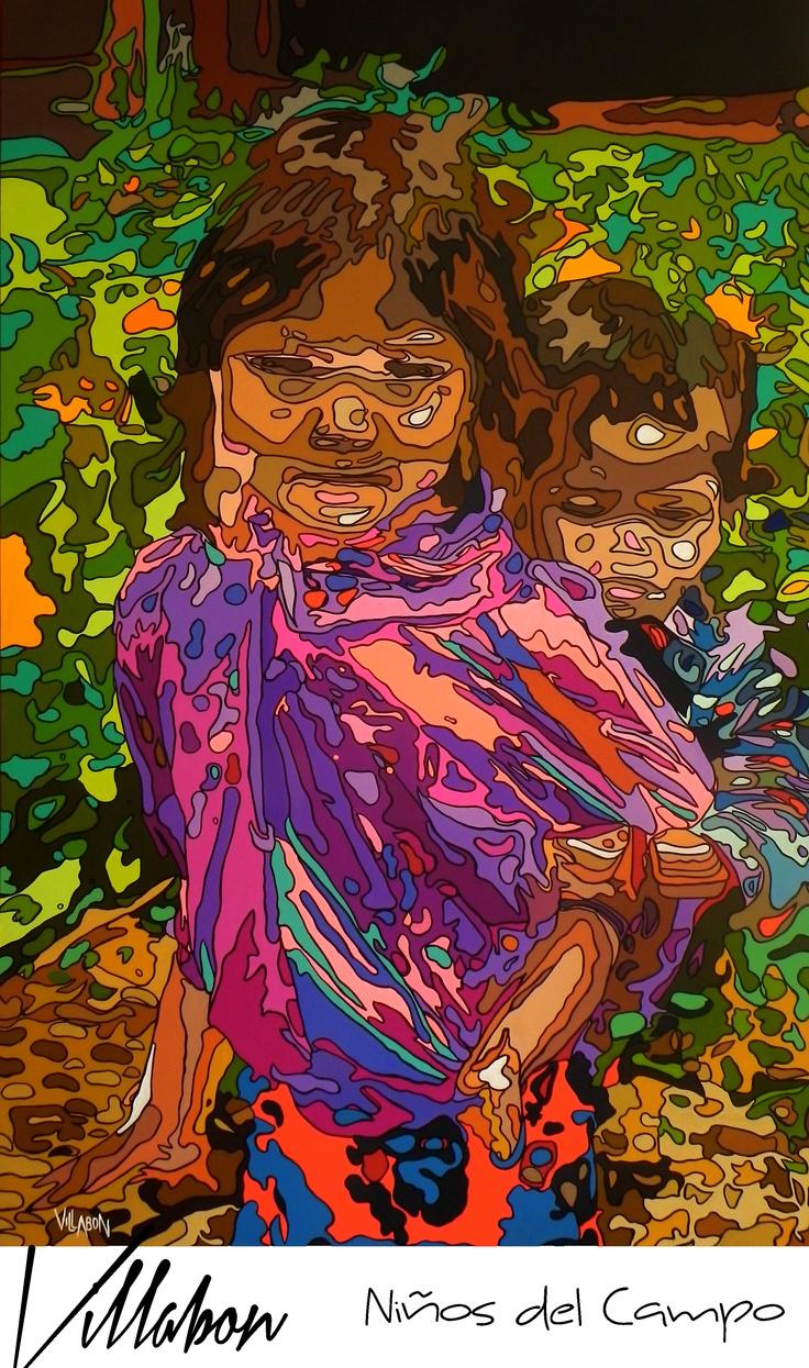 NIÑOS DEL CAMPO  CURVISMO  ACRILICO SOBRE LIENZO  1.10M X 1.70M  CARLOS VILLABON  2012  http://www.lavilladebon.com