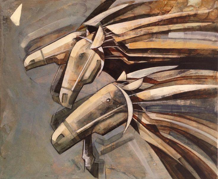 The indian tale and the three horses, painting, acrylic on canvas || Indiańska baśń i trzy konie, obraz, akryl na płótnie