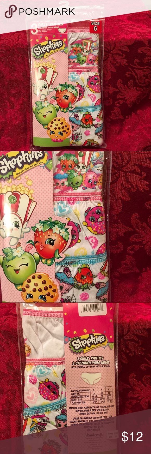 "NEW Shopkins Girls Sz 6 Panties 3 Pair Pack NEW Shopkins Girls Panties  3 Pair Pack  Assorted Designs  100% Cotton  Size 6 Panties  22"" Waist 39-49 Weight Smoke and Pet Free Home   IT#6500 shopkins  Other"