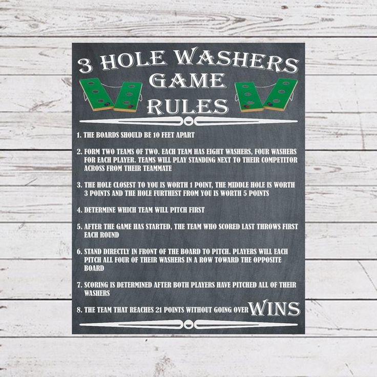 Yard Games 3 Hole Washers Sign Poster Rules Outdoor Party