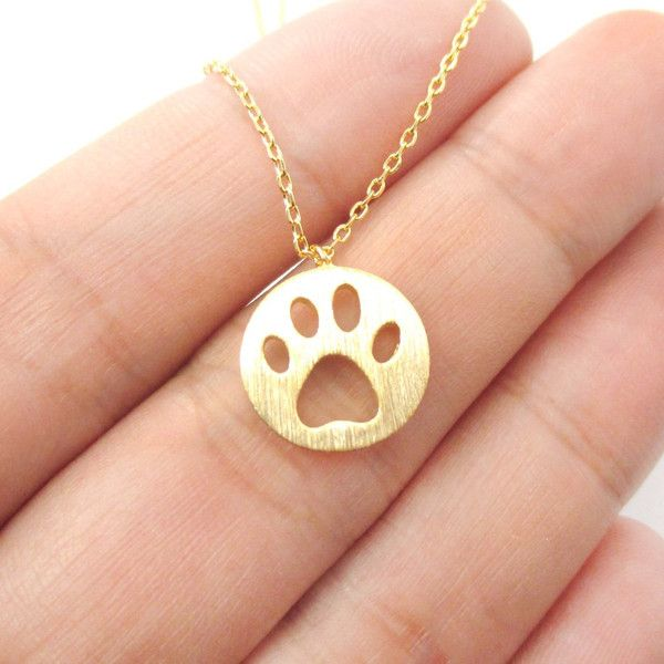 Round Puppy Paw Print Cut Out Shaped Pendant Necklace in Gold $13.00