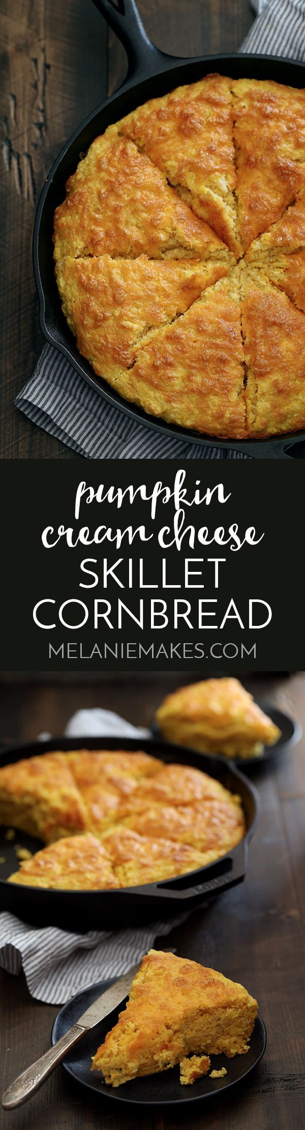 This thick Pumpkin Cream Cheese Skillet Cornbread is the perfect side dish for any fall meal. Pumpkin, cheddar and cream cheese are spiked with cinnamon and are the standout ingredients of this easy, savory bread.